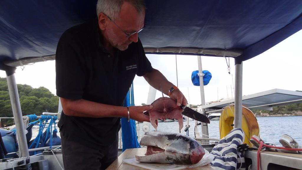 Der Thunfisch wird in essbare Portionen zerteilt.